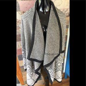 NWT Knox Rose Black & White Cardigan Sweater L